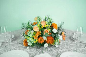 Centro de mesa con flores naturales snapdragon