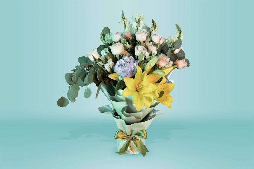Ramo natural con rosas lirio y hortensias