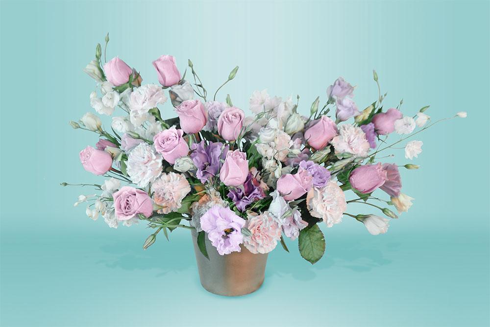 Regalo quinceañera ramo natural con rosas y claveles